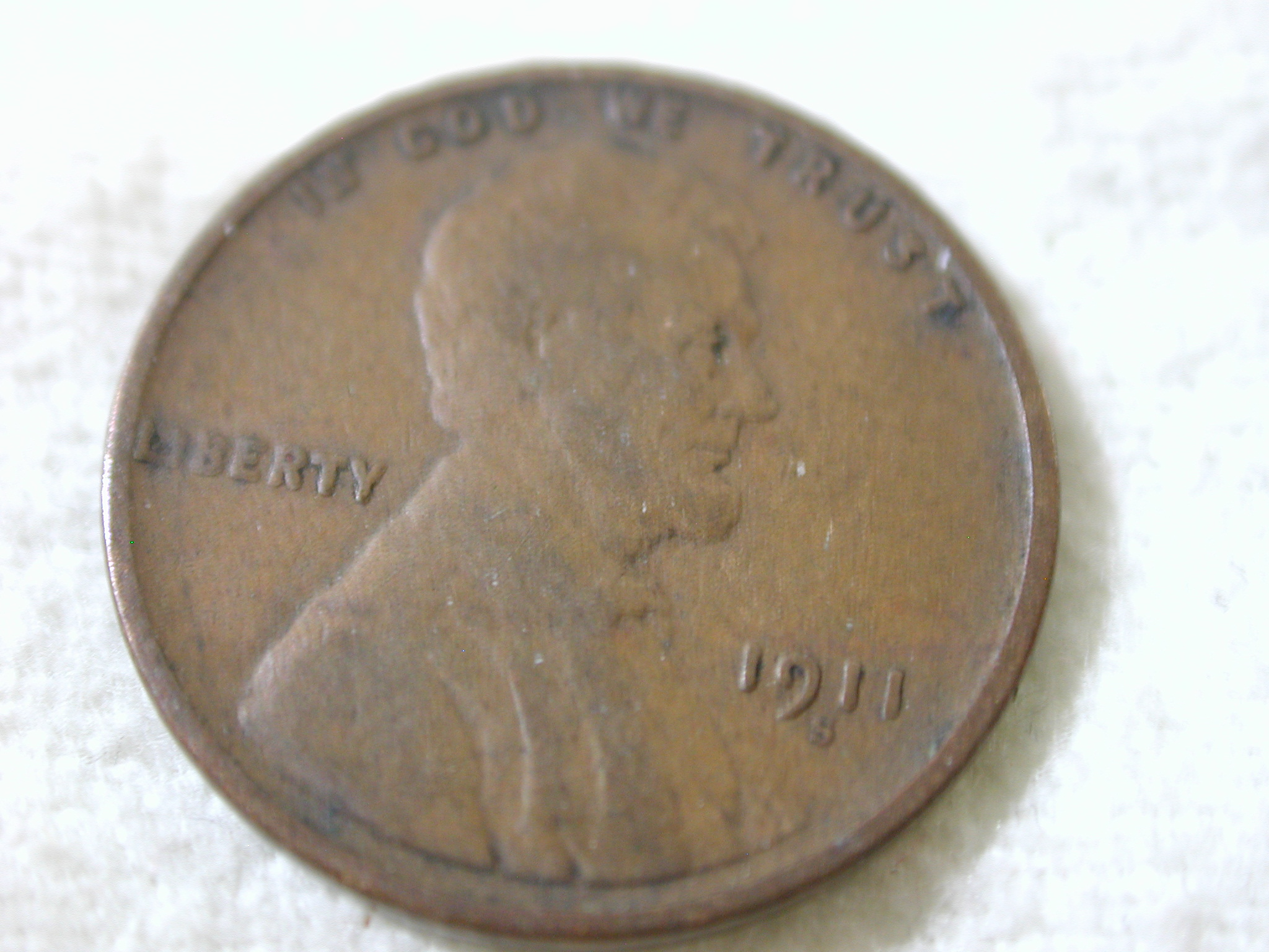 1911-S U.S Lincoln Wheat Cent Type Very Good