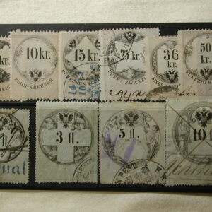 Hungary circa 1870-1880 10 Revenue Stamps (Larger)
