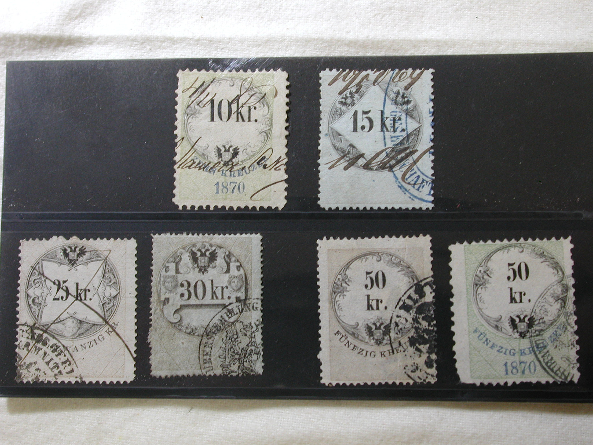 1870 Hungary 6 Revenue Stamps