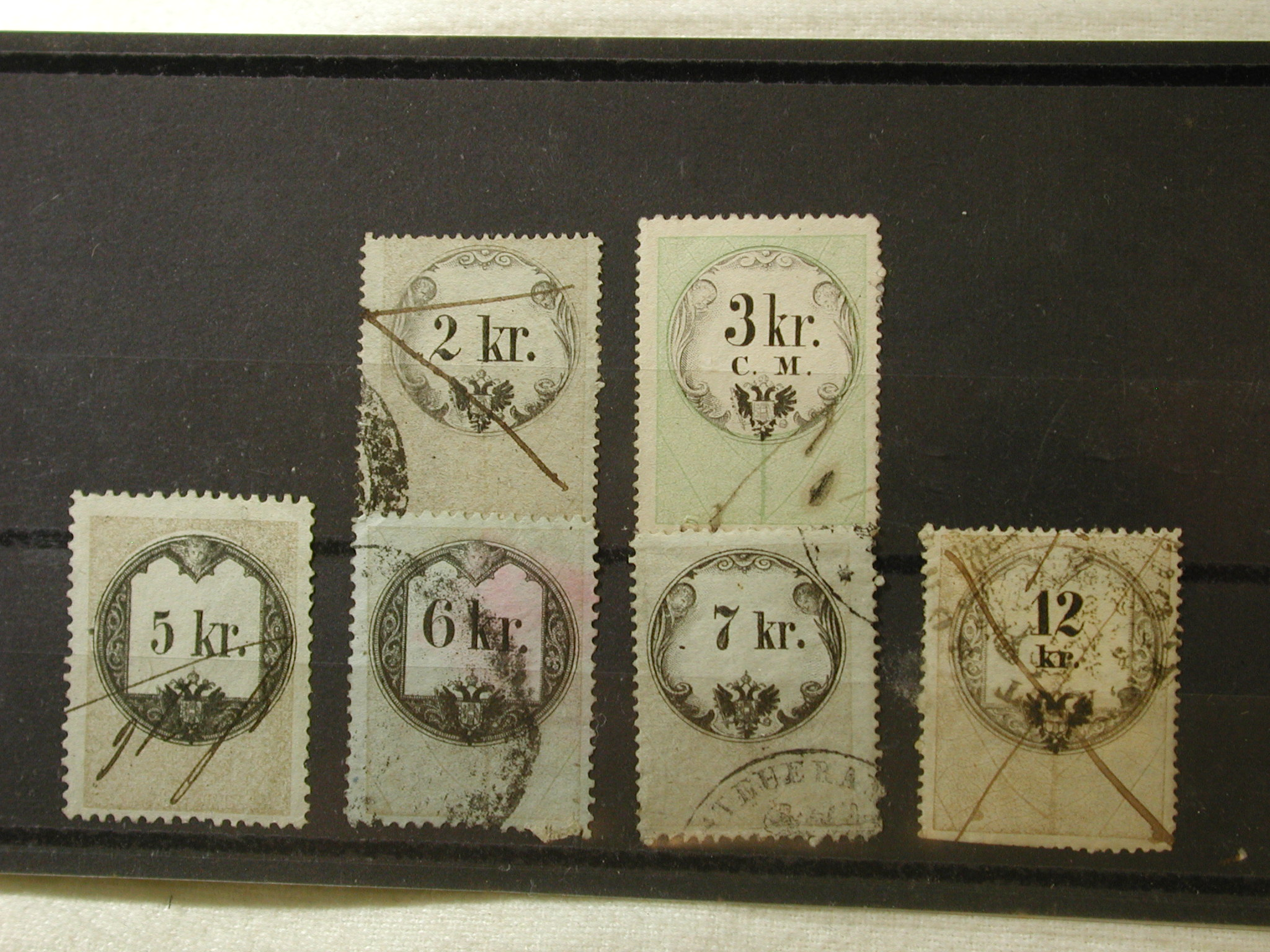 1880 Hungary 6 Revenue Stamps