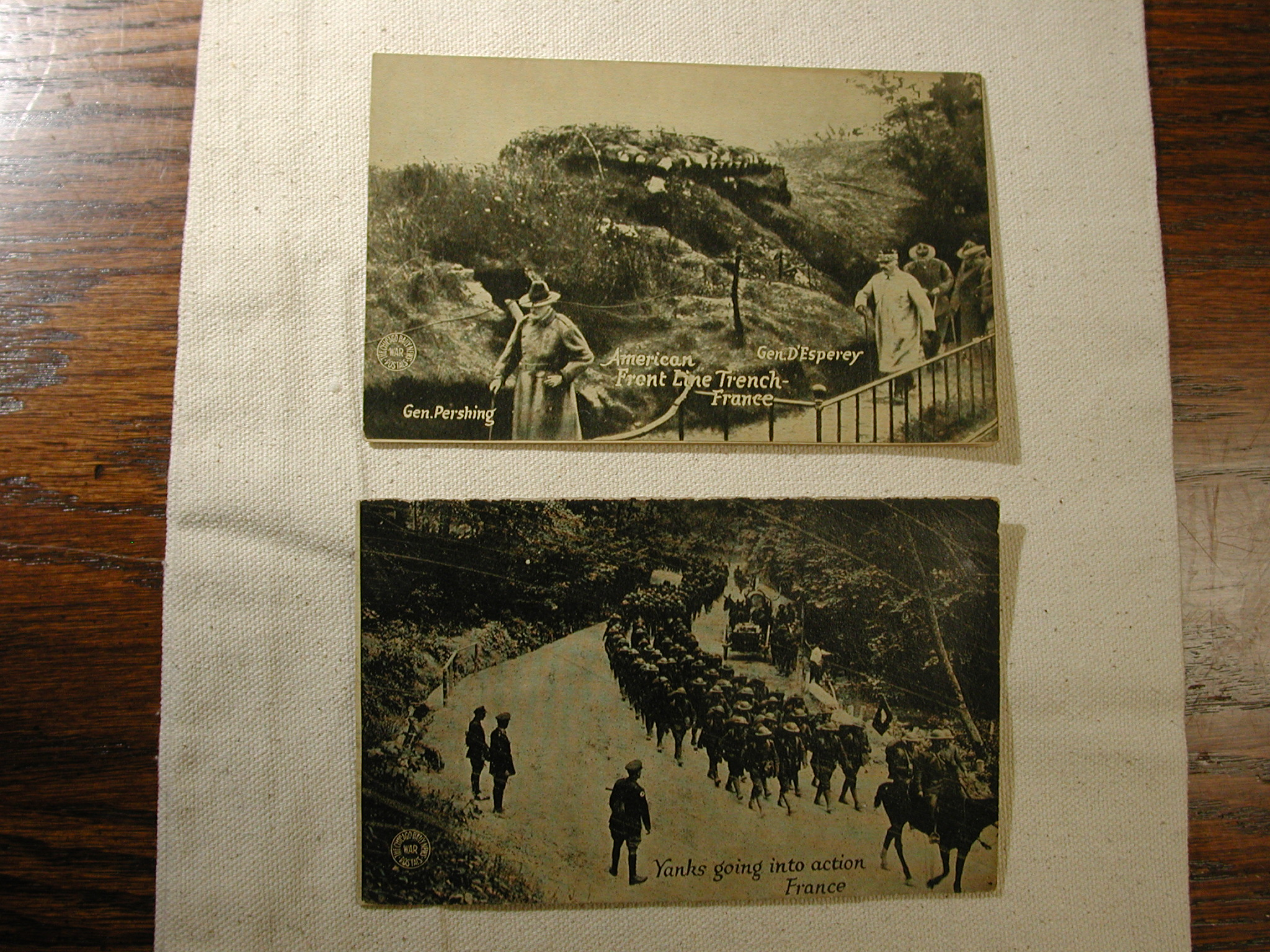 American Front Line France Gen Pershing set of 2 WWI postcards