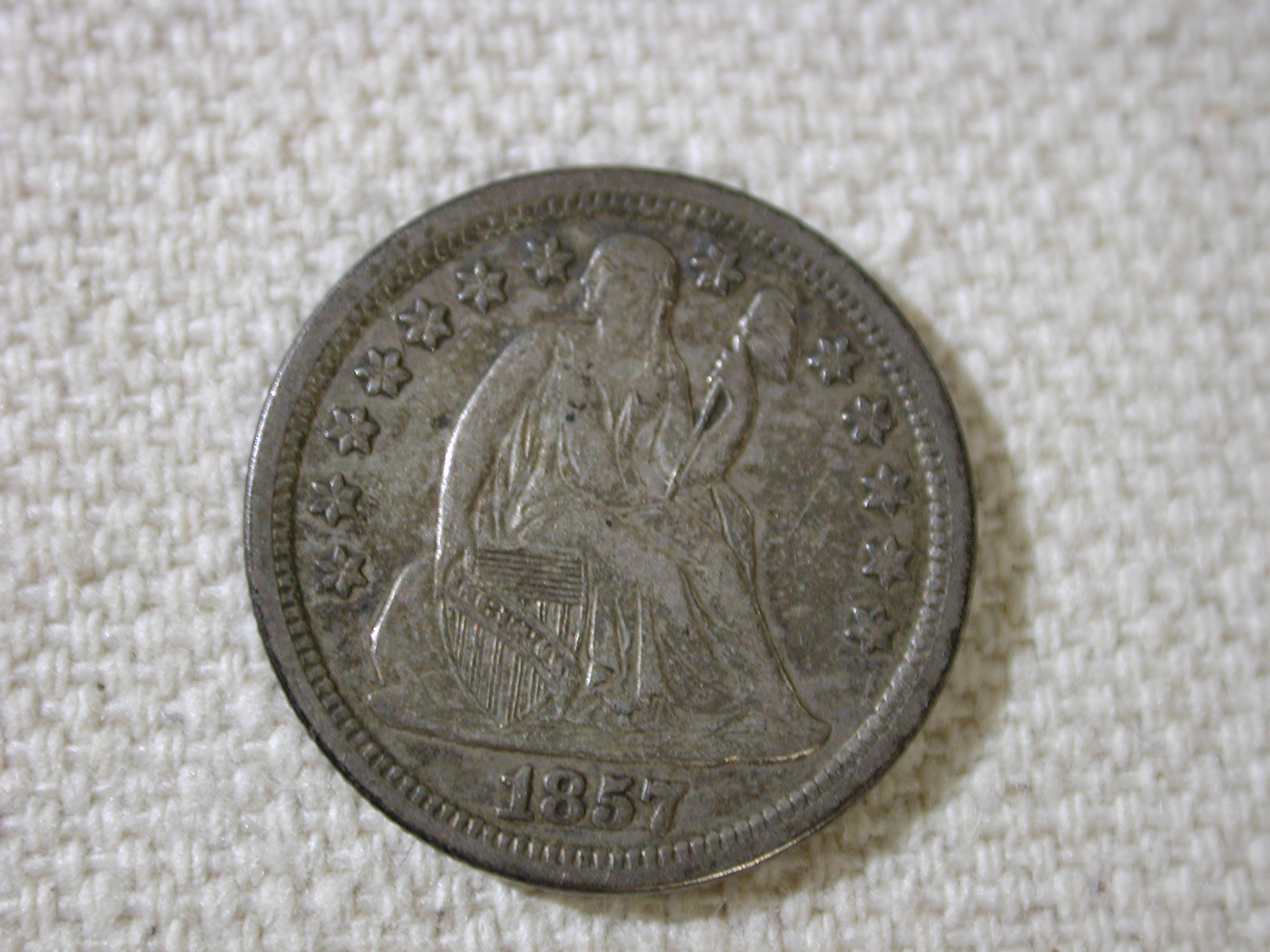 1857 U.S Liberty Seated Dime Variety 2 Drapery About Uncirculated