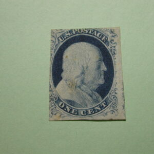 USA - Scott #9 - 1 Cent Blue Benjamin Franklin No Gum 1852 APS Expertized