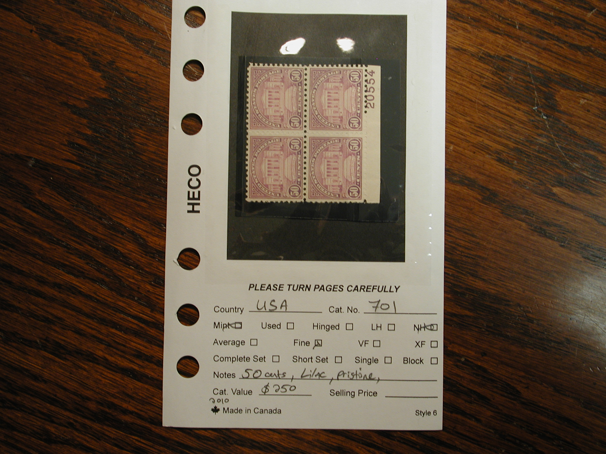 Usa Stamp Scott 701 Fifty Cents Lilac Nh Plate Block Of 4