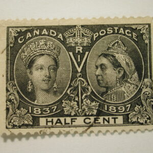 CANADA #50 Stamp - Half Cent Used Lightly Hinged