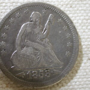 1853 Seated Liberty Quarter Extra Fine rays & arrows