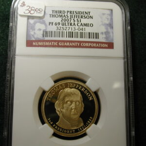 Third President Thomas Jefferson 2007-S NGC PF69 Ultra Cameo