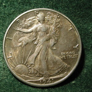 1941-D U.S Walking Liberty Half Dollar Toned Uncirculated