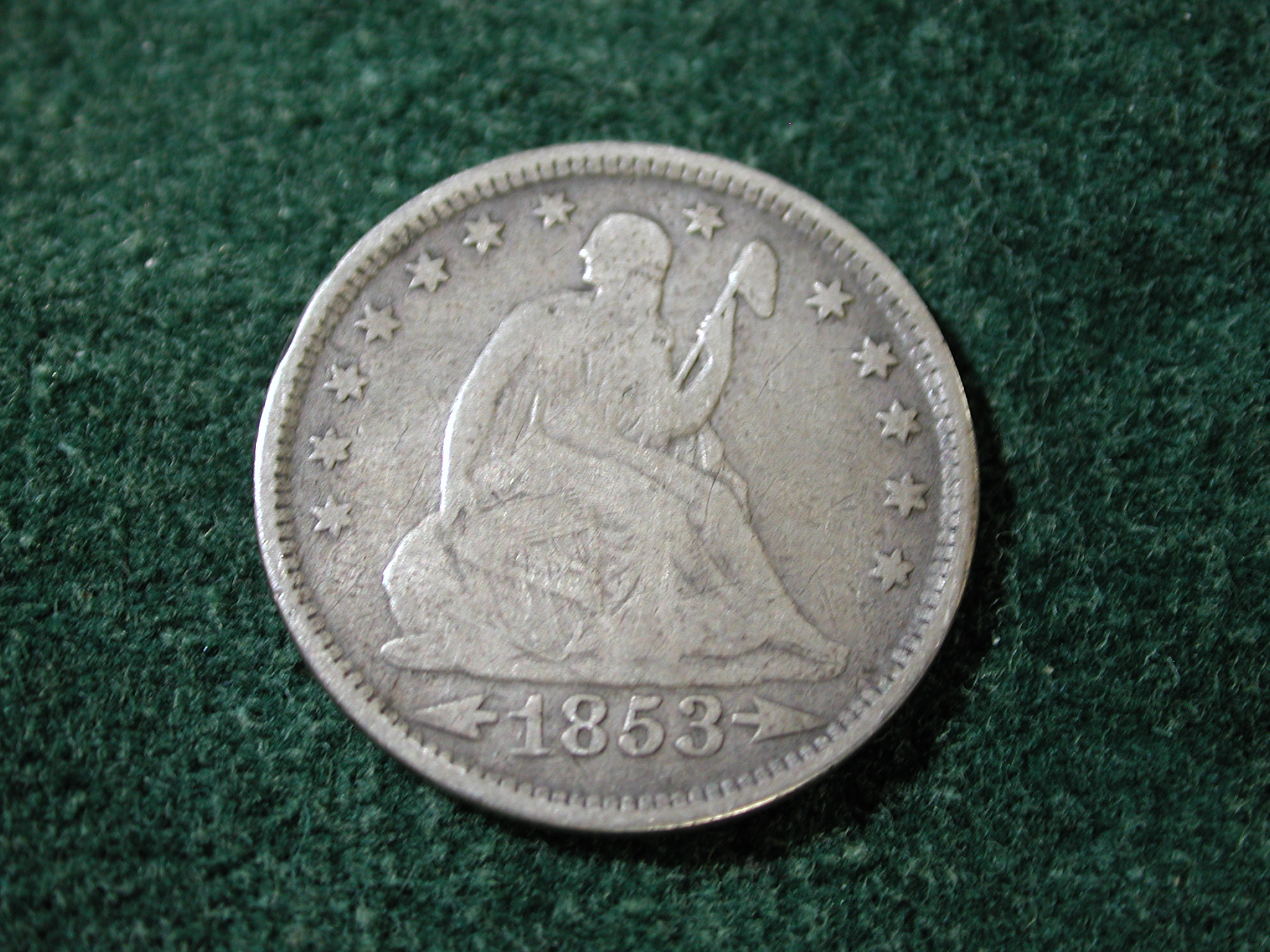 1853-O Arrows & Rays Liberty Seated Quarter Very Good