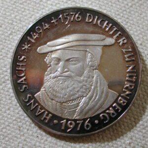 1976 Hans Sachs Nurnberg uncirculated commemorative coin