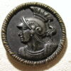Hector Trojan hero 39mm silver repousse on brass memorial button