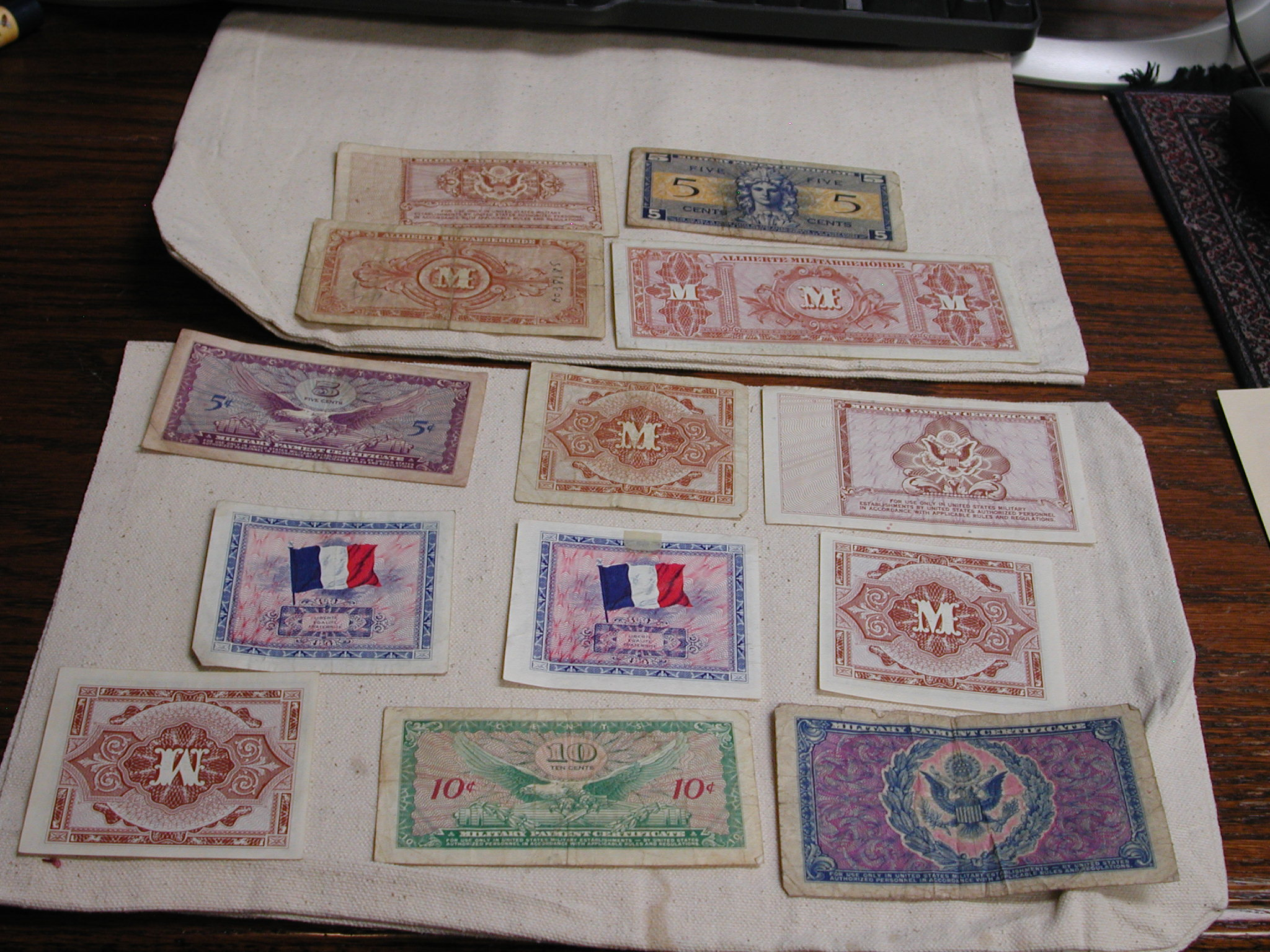Ww2 Military Money France Us Germany Lot Of 13 2