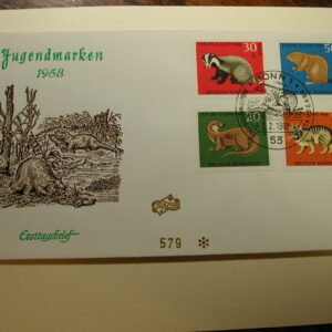 Germany 1968 F.D.C. CPL Wild Muskrat, Beaver, Ground Hog Cover