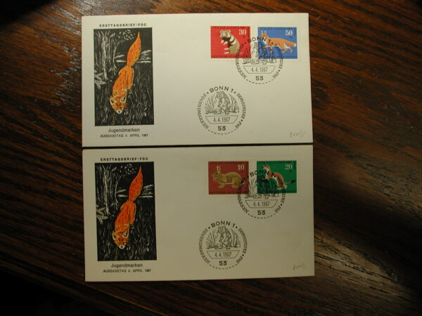 Germany 1967 F.D.C. CPL Wild Fox Set of 2 Covers