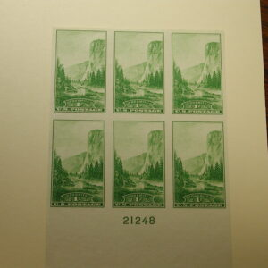 U.S. Scott #756 - 1 Cent Yosemite Farley Natural Parks Block of Six #21248 NH /No gum