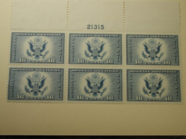 US Scott #CE1, 1934 Air Post Special Delivery Top Plate Block-6 plt #21315