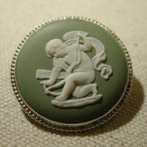Wedgwood Jasper Angel Cherub Cameo pin Sterling in original box
