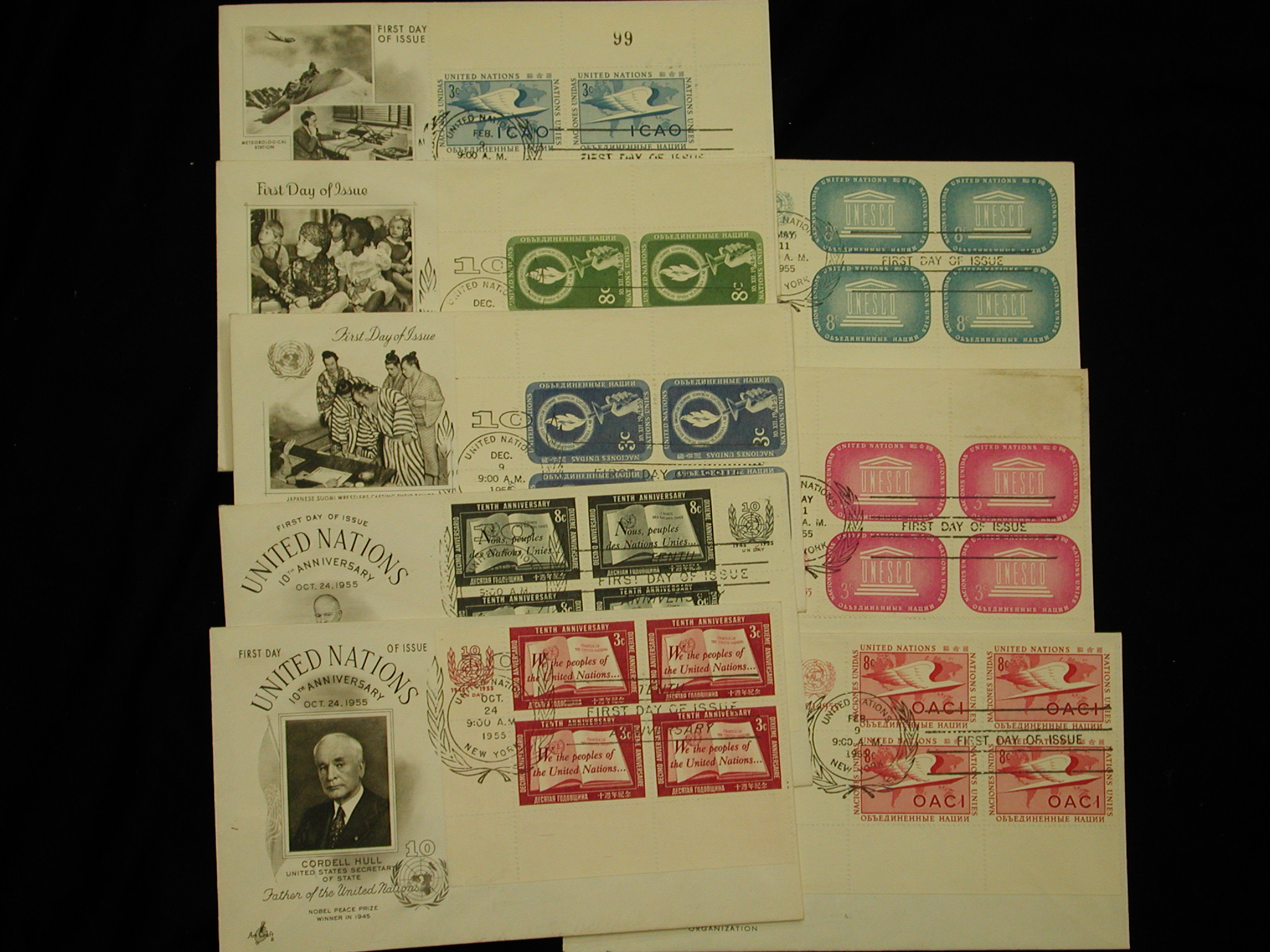 United Nations First Day mint blocks 1955 lot of 8