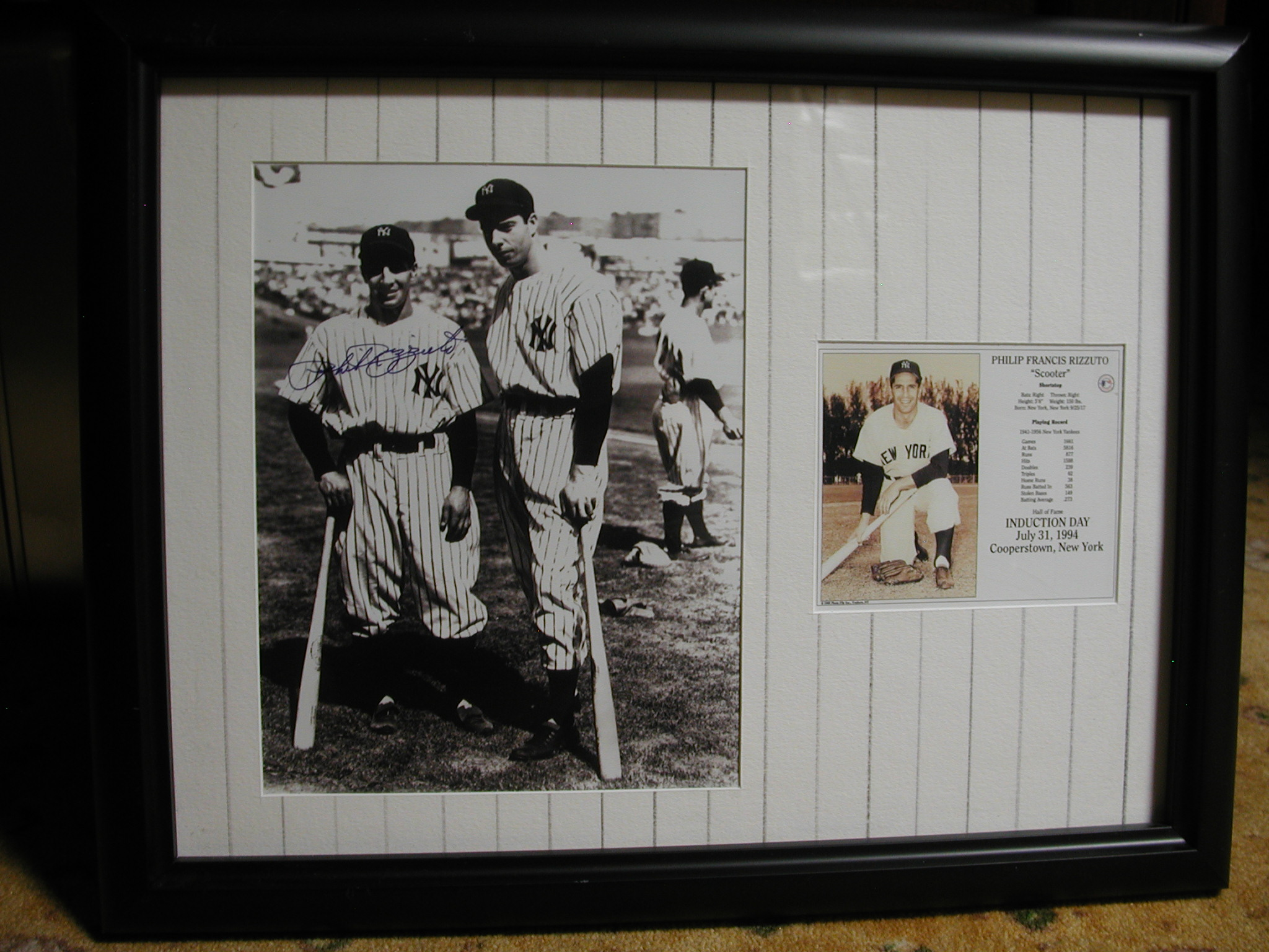 Phil Rizzuto Joe Dimaggio autographed framed photo