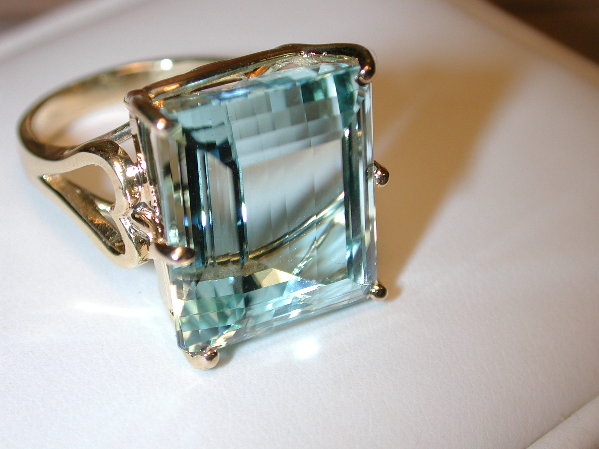14KT 20+ carat Emerald Cut AQUAMARINE 16 x 15mm ring Stunning!