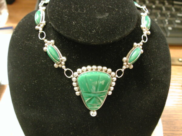 Carved Green Malachite Taxco CMB Mexico Sterling Necklace