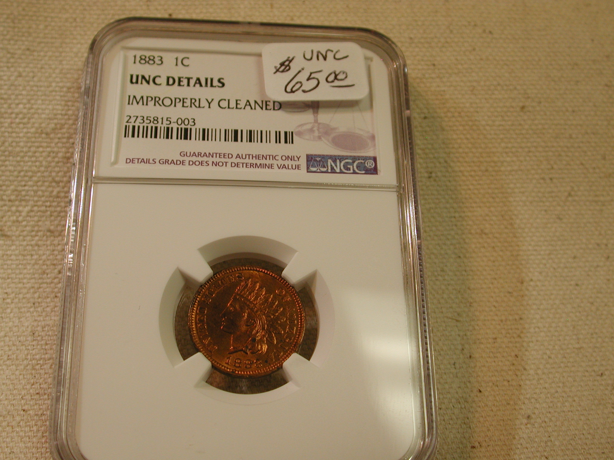 1883 1C UNC Details Improperly Cleaned NGC
