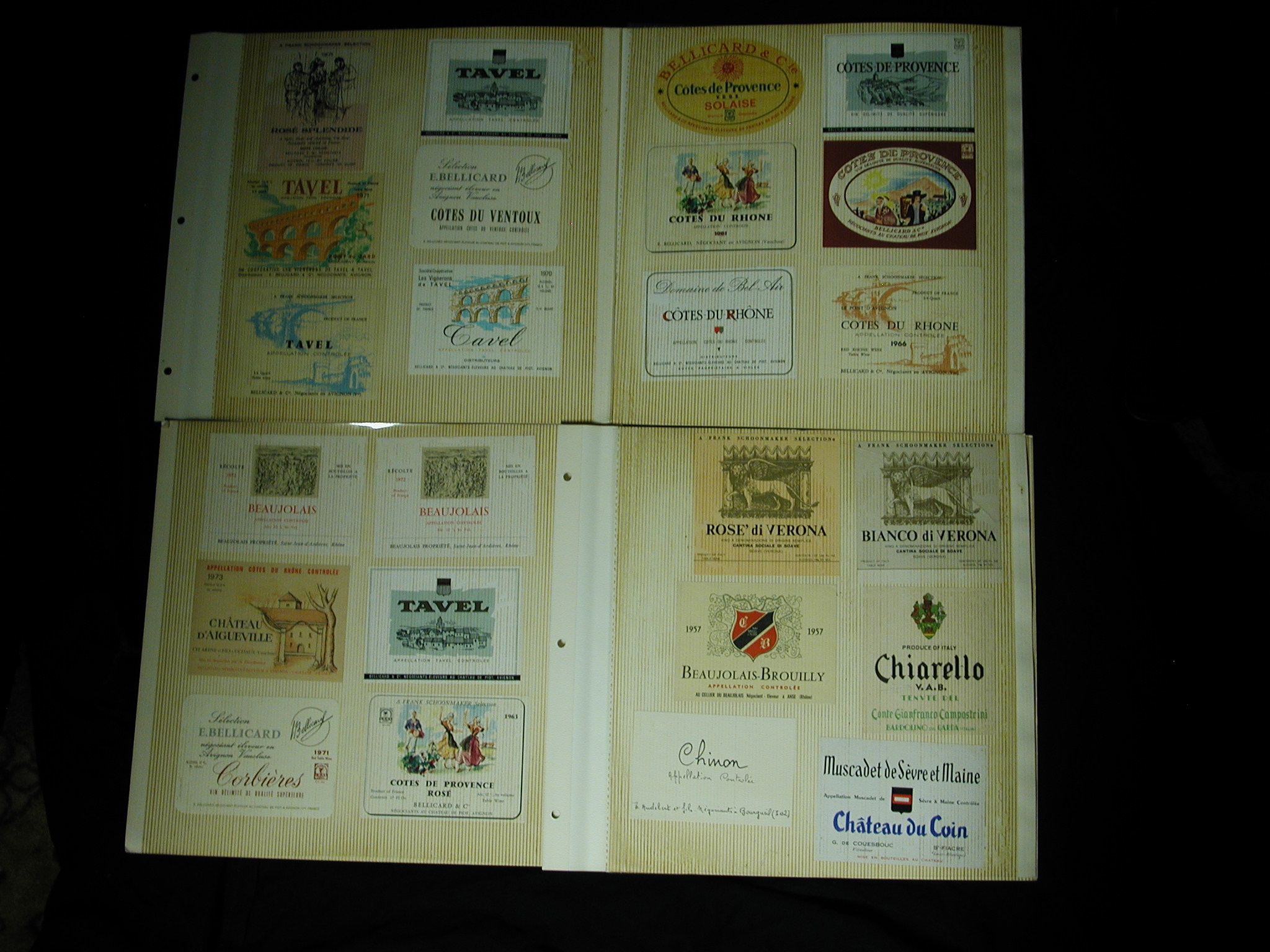European Wine Labels book of 186 Germany France Italy 1940-1970