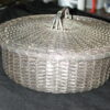 Woven Silver Plated 8 1/2 inch Round Basket with Lid