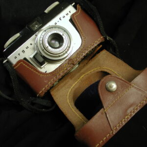 Argus A-Four Coated Cintar Vintage Camera with Leather Case