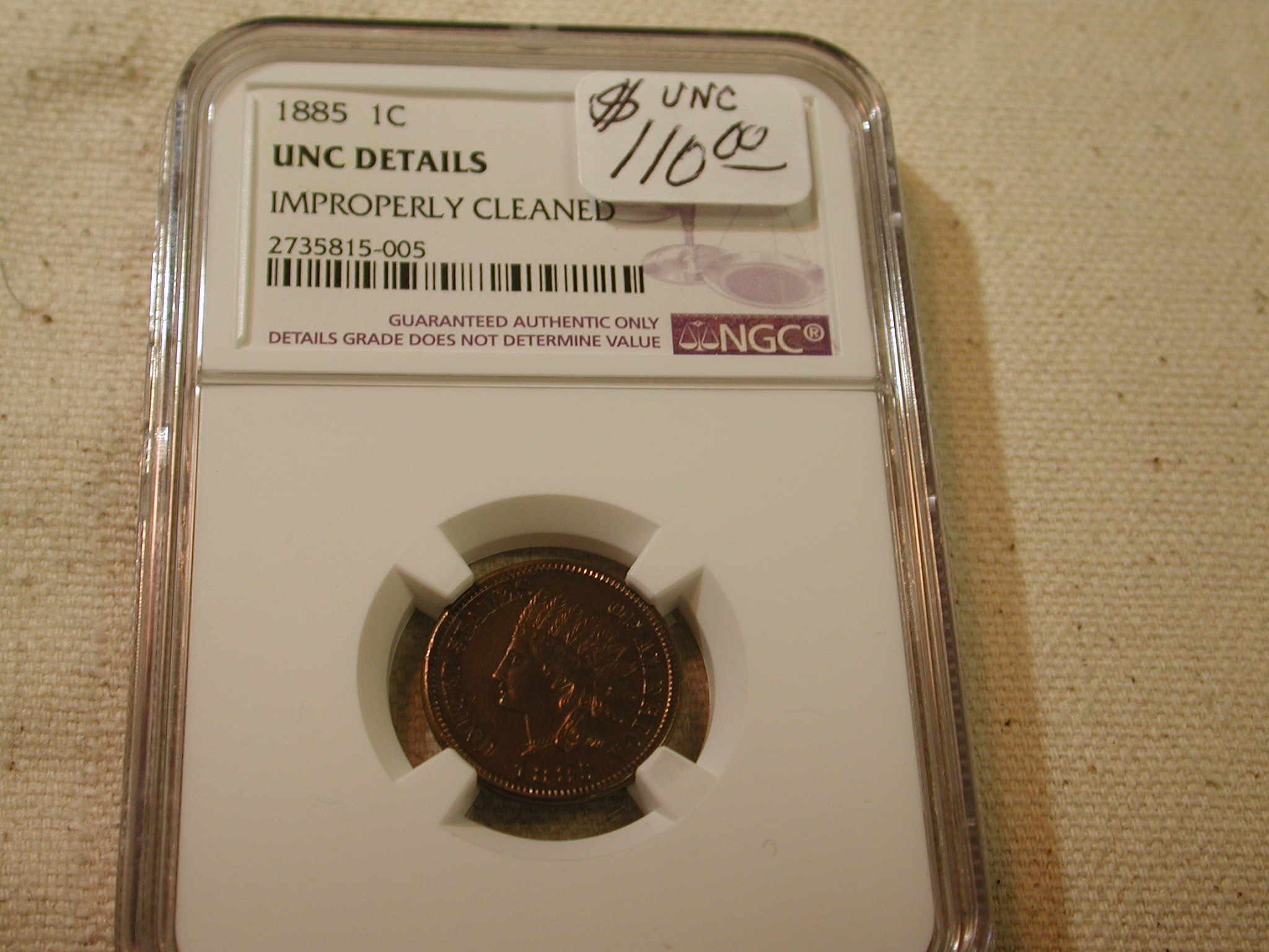 1885 1C UNC Details Improperly Cleaned NGC