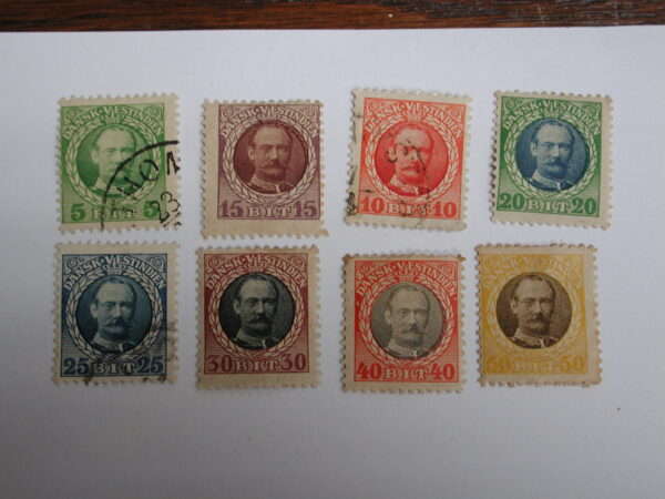 Danish West Indies 1908 Scott #43-#50 Complete Fred VIII Set