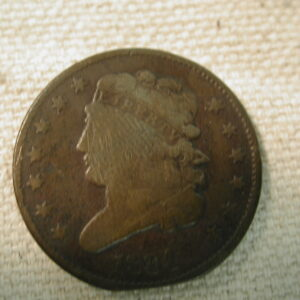 1834 Half-Cent Classic Head Type Clipped Planchet Error Very Fine