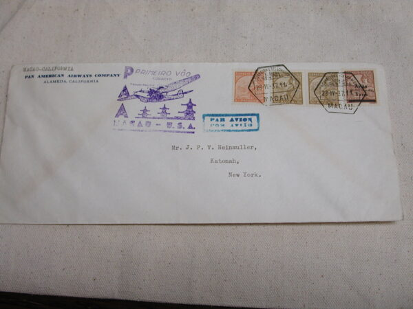 Pan Am First Flight Airmail 1937 Macao to California Letter Cover