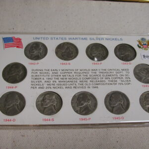 U.S Wartime Nickel collection set of 11 1942 - 1945 PDS