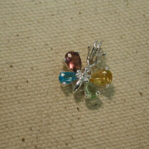 Sterling Silver Colorful Butterfly Pendant/Charm
