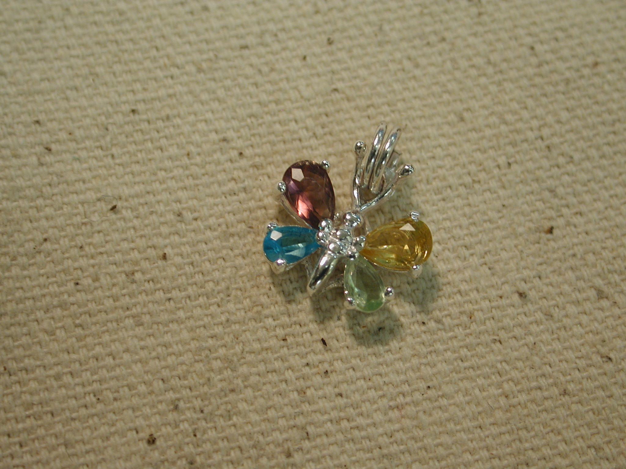 Sterling Silver Colorful Gemstone Butterfly Pendant/Charm