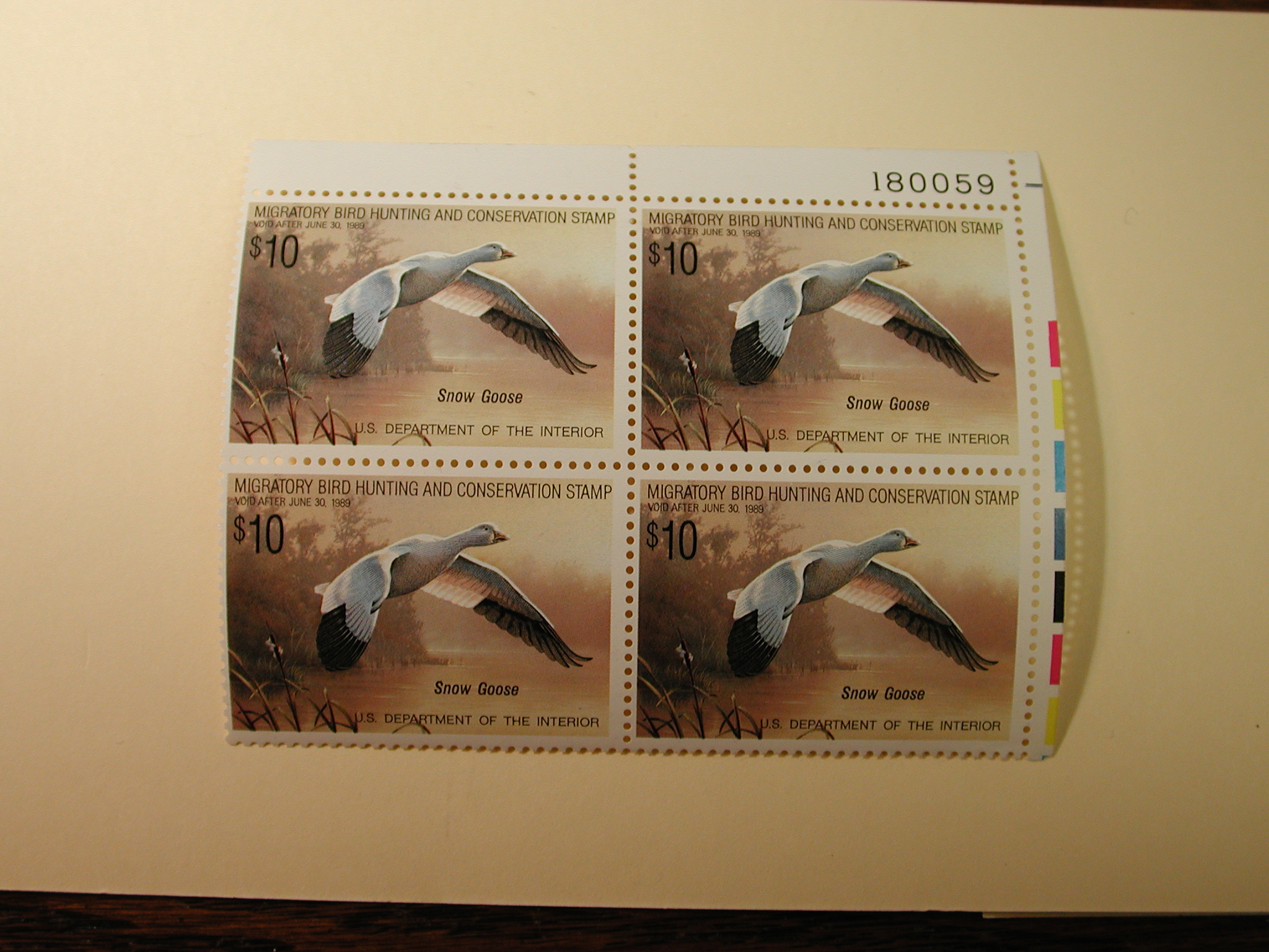 U.S. Duck Stamps Plate Block $10 Snow Goose US Department of The Interior