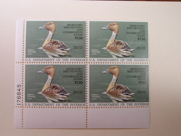 U.S. Duck Stamps Plate Block $7.50 Fulvous Whistling Duck US Department of The Interior