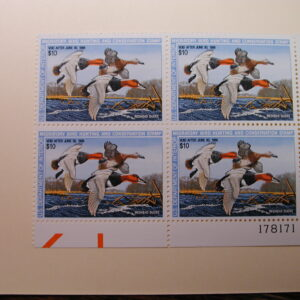 U.S. Duck Stamps Plate Block $10 Redhead Ducks US Department of The Interior