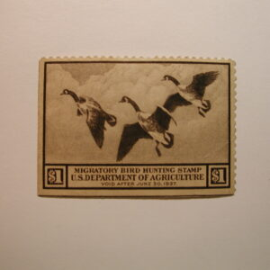U.S. Stamp Scott #RW3 US Department of Agriculture $1 Migratory Bird Hunting Stamp Thin, Missing Gum/Hinged