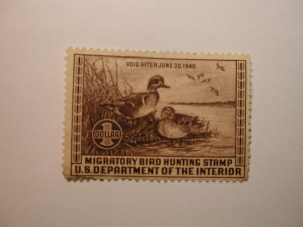 U.S. Stamp Scott #RW6 US Department of Agriculture $1 Migratory Bird Hunting Stamp No Gum