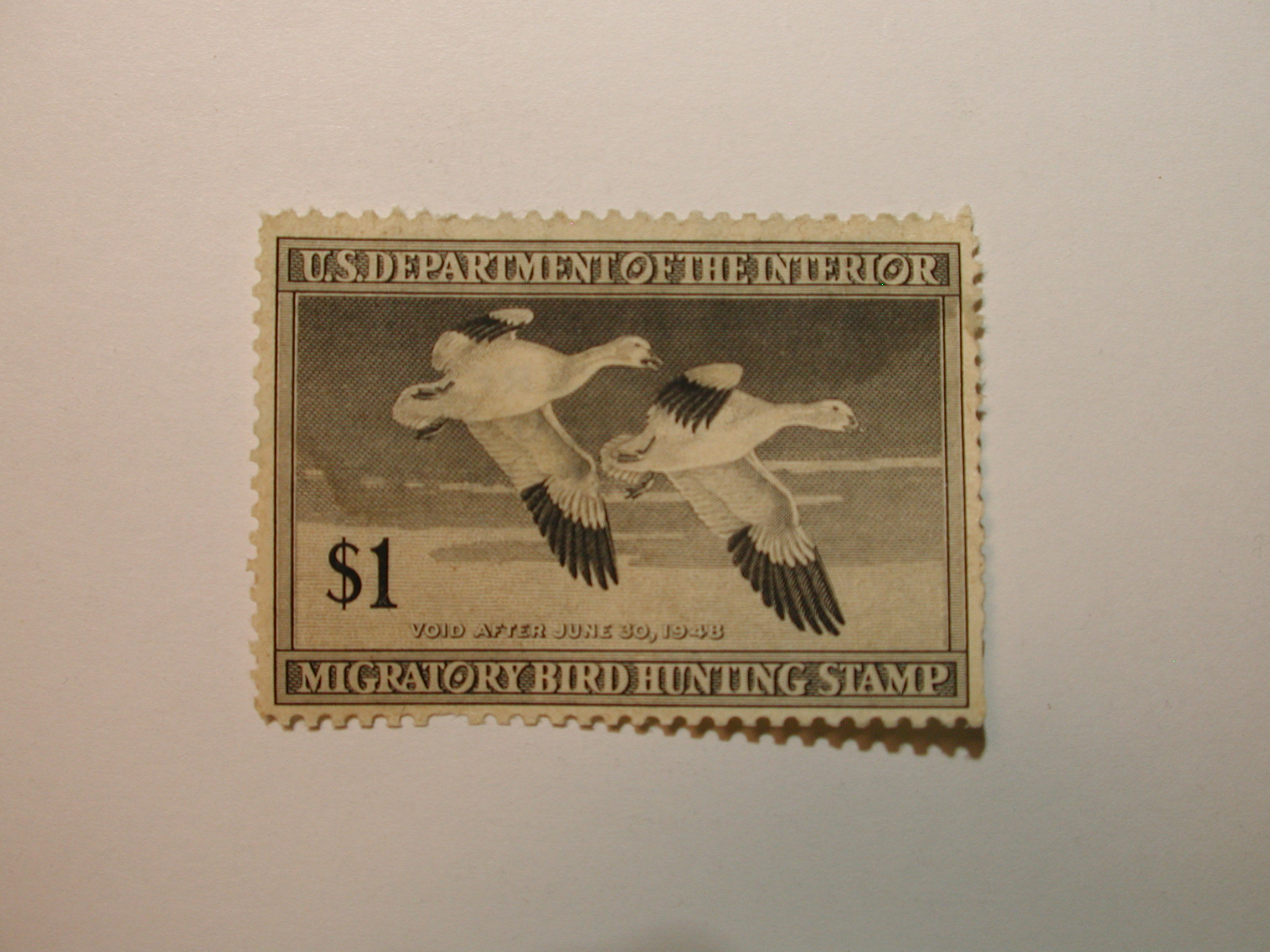 U.S. Stamp Scott #RW14 US Department of Agriculture $1 Migratory Bird Hunting Stamp Most Gum Missing
