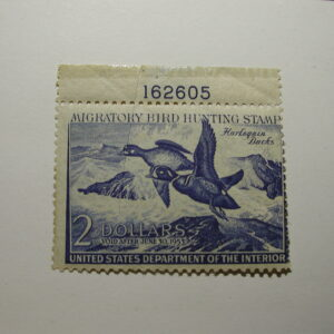 US Department of Interior Scott #RW19 $2 Harlequin Ducks 1952, MNH/ crease on back - Plate Single #162605