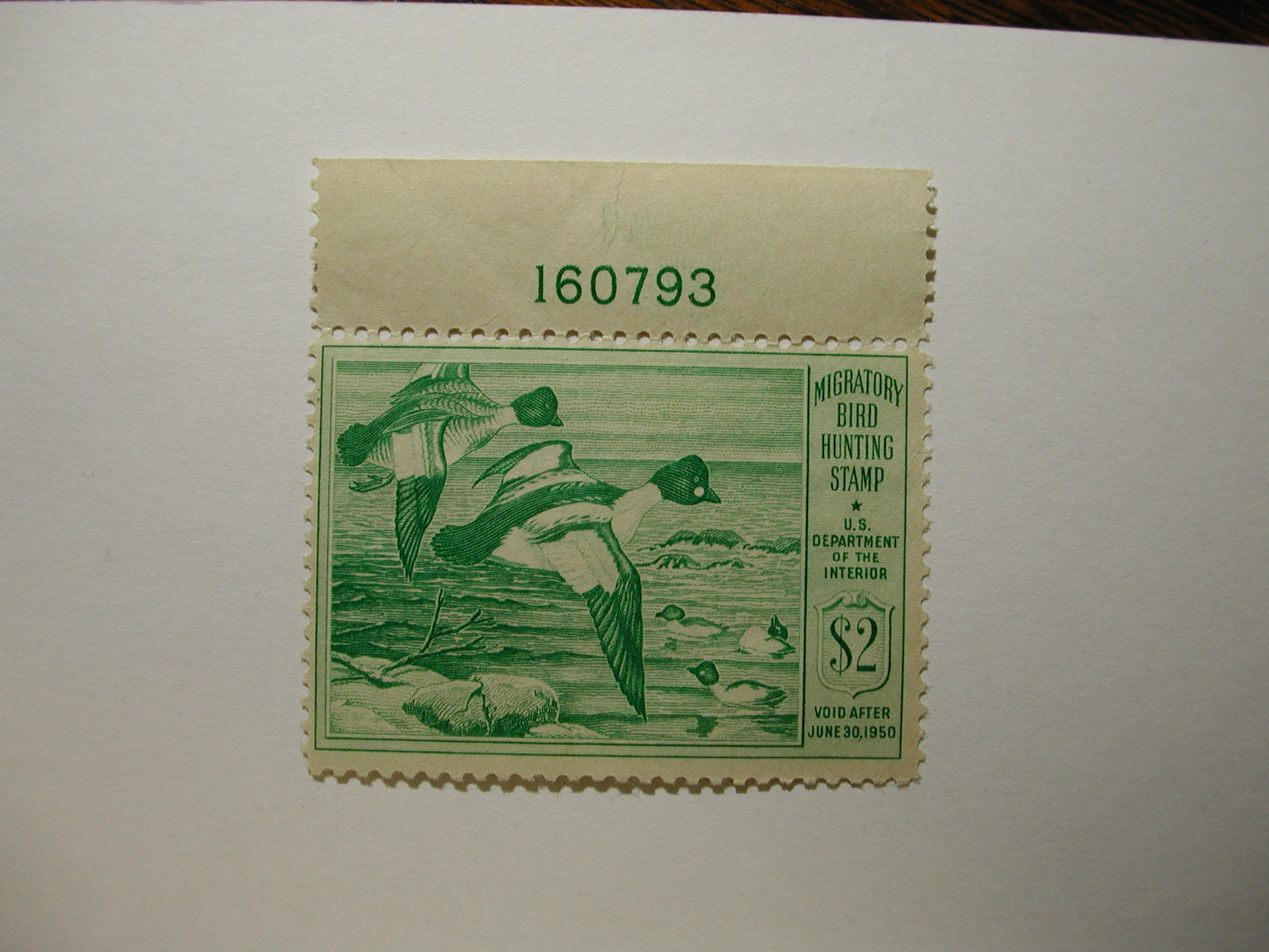 US Department of Interior Scott #RW16 $2 Goldeneye Ducks 1949, MNH/ Gum Skips on Plate # - Plate Single #160793