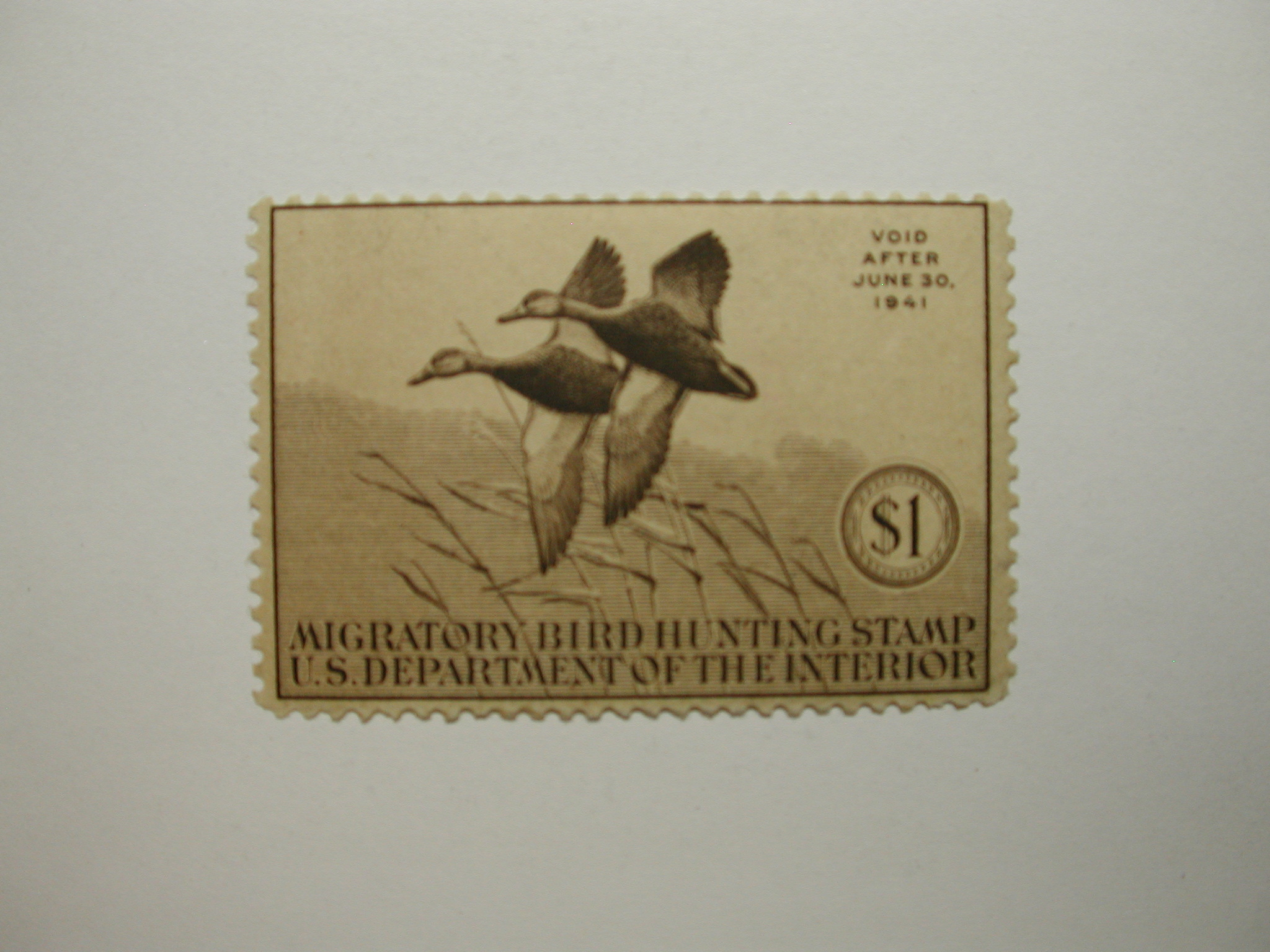 US Department of Interior Scott #RW7 $1 Black Mallards 1940, MNH