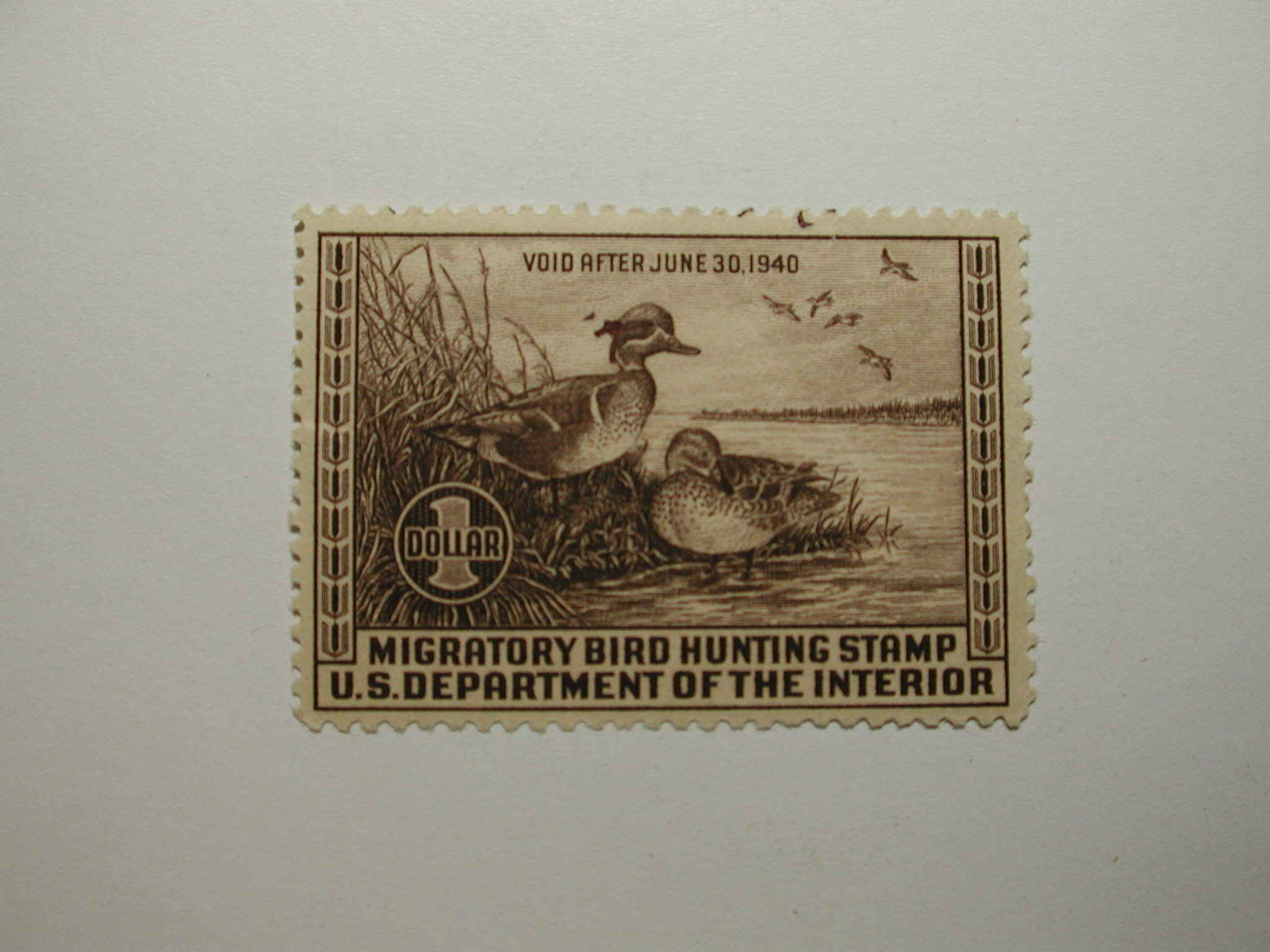 US Department of Interior Scott #RW6 $1 Green-Winged Teal 1939, MNH