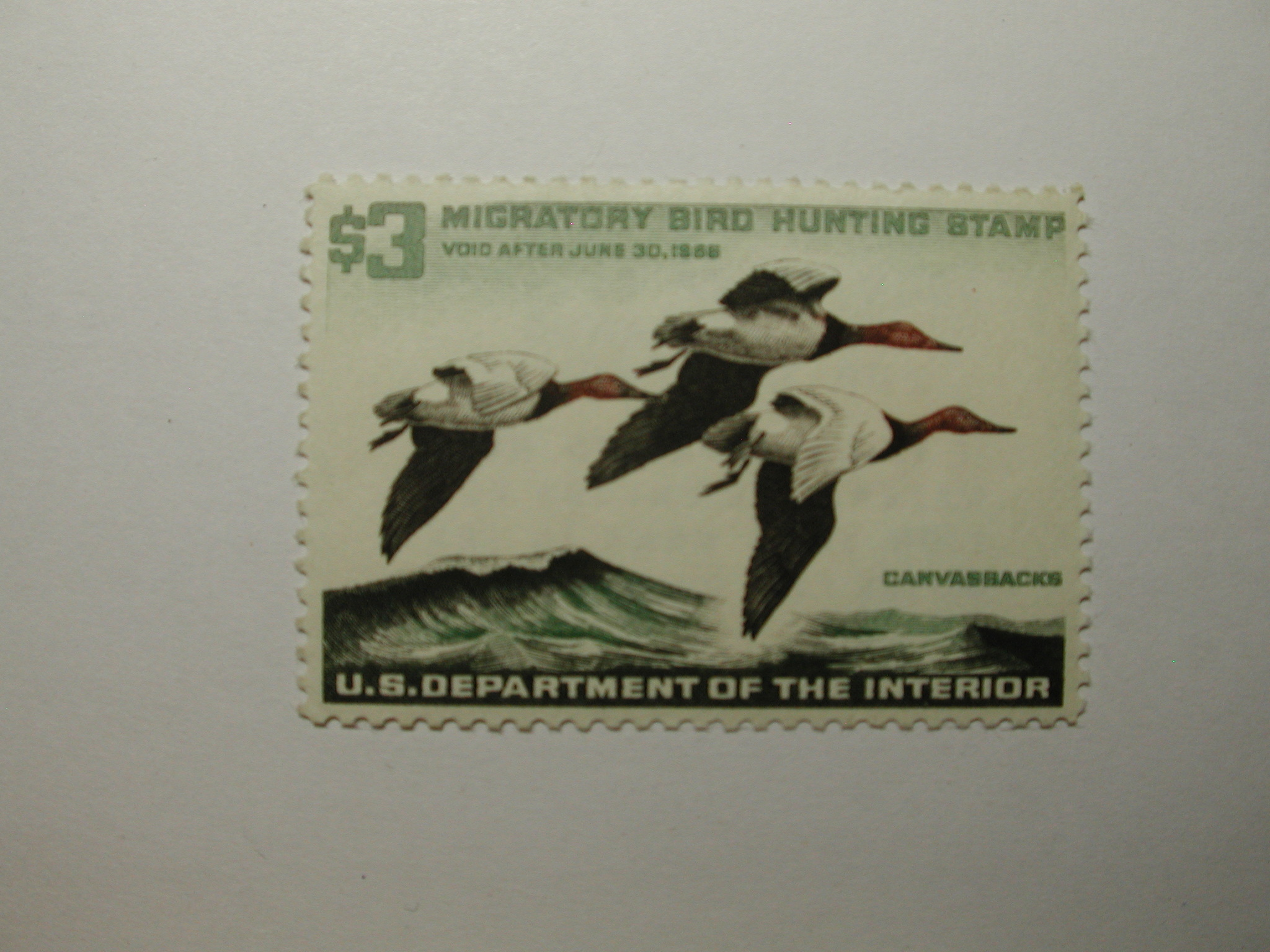 US Department of Interior Scott #RW32 $3 Canvas Backs 1965, MNH