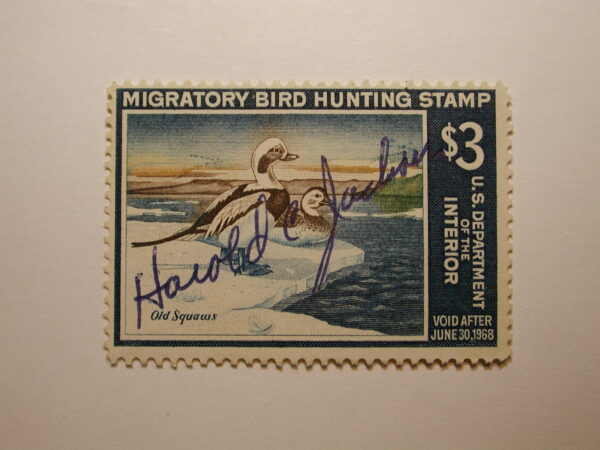 US Department of Interior Scott #RW34 $3 Old Squaw Ducks Stamp 1967, Used & Signed