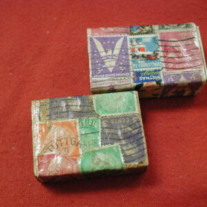 Win the War Matchboxes covered in WW2 Stamps Stuttgart cancel
