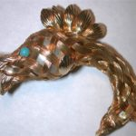 """Fish braided woven chatelaine 2 1/2"""" Pin Pearl Body turquoise eye 11"""" chain"""